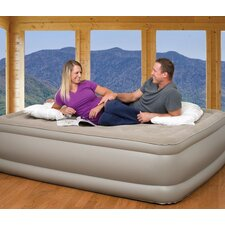 Queen Raised Suede Top Air Bed with Built in Pump