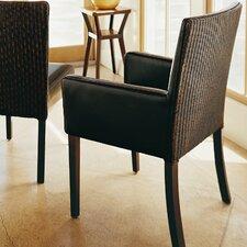 Hudson Woven Back Arm Chair in Dark Brown
