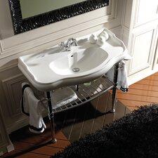 Retro Ceramic Bathroom Sink with Metal Structure