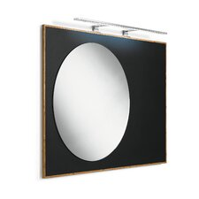 Luni Mirror with Bamboo Frame and Blackboard Magnetic Surface