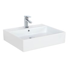 "Simple 23.6"" Wall Mounted / Vessel Bathroom Sink with Overflow"