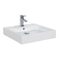 """Simple 19.7"""" Wall Mounted Vessel Bathroom Sink with Overflow"""
