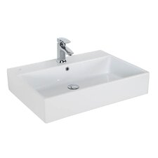 "Simple 27.6"" Wall Mounted Vessel Bathroom Sink with Overflow"