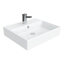 "Simple 19.7"" Wall Mounted Vessel Bathroom Sink with Overflow"