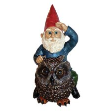 Gnome on Owl Resin Statue