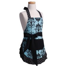 Girls' Original Apron in Aqua Damask