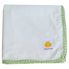 Organic Flannel Oversized Swaddling Blanket in Green / Natural