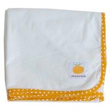 Organic Flannel Oversized Swaddling Blanket in Orange / Natural