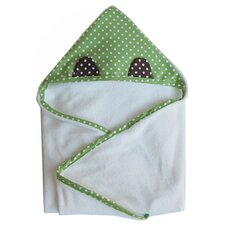 Organic Hooded Animal Towel - Frog in Green / White