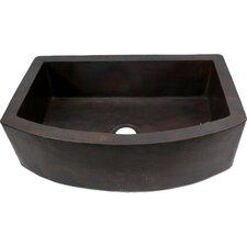 "33"" x 22"" Plain Round Apron Single Well Hammered Copper Farmhouse Kitchen Sink"