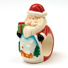 4-tlg. Serviettenring-Set Santa and Snowman