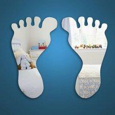 2-tlg. Wandspiegel-Set Baby Feet