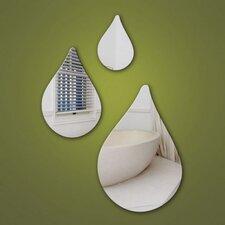 3-tlg. Wandspiegel-Set Raindrops