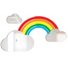 4-tlg. Wandspiegel-Set Rainbow and Clouds