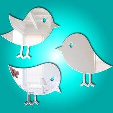 3-tlg. Wandspiegel-Set Tweet Birds