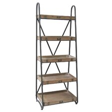 """Voyager Metal and Wood Tiered 68"""" Accent Shelves Bookcase"""