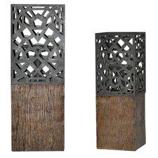 De Luca Resin Candlesticks (Set of 2)