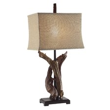 """Twisted Drift Wood 33"""" H Table Lamp with Rectangular Shade"""
