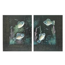 """Under the Sea Painted Leather and Metal Wall Decor (Set of 2) - 19.75"""" x 15.75"""""""