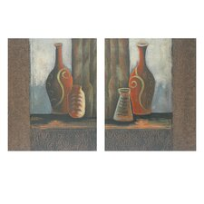 """Vases Painted Leather and Metal Wall Decor (Set of 2) - 19.75"""" x 15.75"""""""