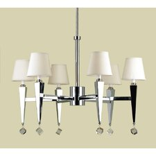 Margo 6 Light Chandelier with Poly Silk Shade