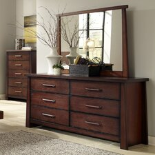 Fusion 6 Drawer Dresser with Mirror