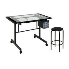 Vision 2 Piece Glass Craft Center Table Set