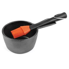 Cast Iron Sauce Pot with Silicone Head Basting Brush