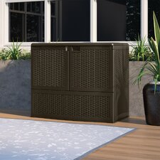 Suncast 195 gal. Outdoor Patio Double Door Vertical Storage Deck Box with 2 Inner Shelves, Espresso
