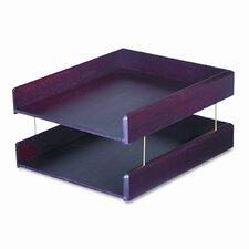 Hardwood Letter Desk Tray, Two-Tier, Mahogany