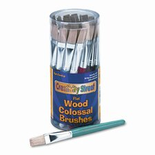 Flat Natural Bristle Colossal Brushes, Colored Wood Handles, 30 per Container
