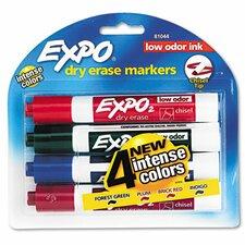 Low Odor Dry Erase Markers, Chisel Tip, Assorted, 4/Set (Set of 2)