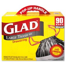 30 Gallon Drawstring Outdoor Trash Bags in Black