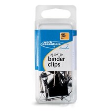 Binder Clips, Scratch-Resistant, 15PK, Assorted Sizes