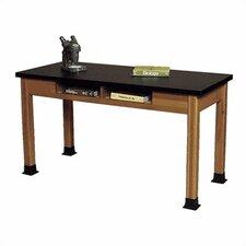 Wood Science Table with Book Storage and Black Epoxy Resin Top