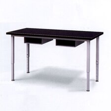 Adjustable Height Steel Frame Science Table with Black HPL Top and Book Storage