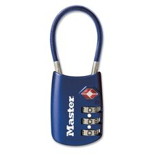 """Cable Lock, Combination, 1-1/8"""", Blue"""