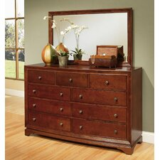 Rosette 9 Drawer Dresser with Mirror