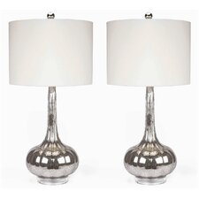 "Michelle Antiqued 28"" H Table Lamp with Drum Shade (Set of 2)"