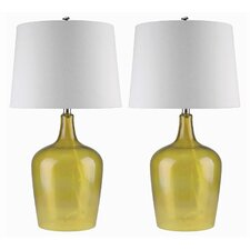 """Delmore Glass 27.5"""" H Table Lamp with Empire Shade (Set of 2)"""