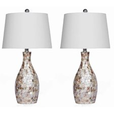 """Mother of Pearl 26"""" H Table Lamp with Empire Shade (Set of 2)"""