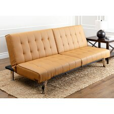 Caldwell Foldable Futon Leather Convertible Sofa