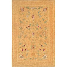 Oceans of Time Himalayan Sheep Gold Floral Indoor/Outdoor Area Rug