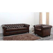 Foyer Premium Italian Leather Sofa and Arm Chair Set