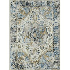 Expressions Cream/Blue Area Rug