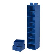 Eight Shelf Organizer and Two Drawers in Blue