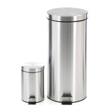Honey-Can-Do 2 Piece Stainless Steel Step Trash Can Set