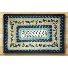 Blueberry Vine Rectangle Blue Patch Area Rug