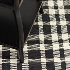Woven Tattersall Black Area Rug