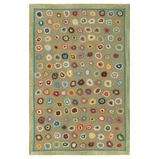 Hooked Green Area Rug